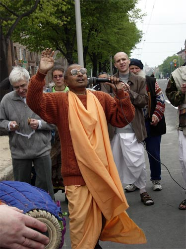Later in one of days devotees came from festival to the center of