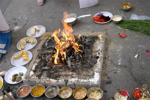 After preparing the fire was started while chanting proper mantras.